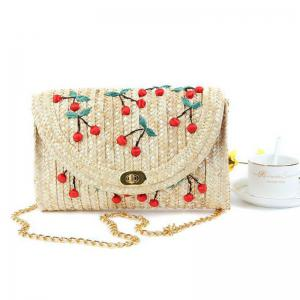 Fruit Embroidery Straw Crossbody Bag - Red - Horizontal