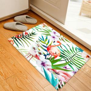 Flamingo Flower Pattern Anti-skid Water Absorption Area Rug - Colormix - W20 Inch * L31.5 Inch