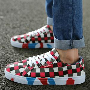 Color Block Tie Up Canvas Shoes - RED 43