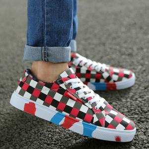 Color Block Tie Up Canvas Shoes - Red - 40