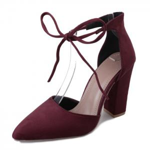 Ankle Lace Chunky Heel Pointed Toe Pumps - BURGUNDY 37