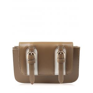 Dual Buckles Mini Cross Body Bag - Brown - 38