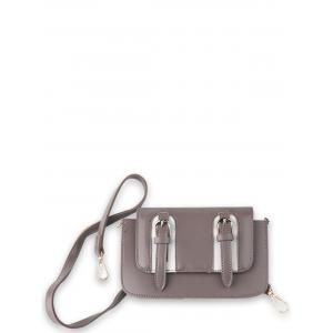 Dual Buckles Mini Cross Body Bag - Pinkish Purple