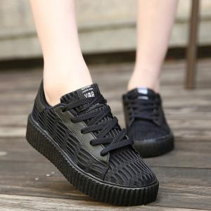 Mesh Breathable Athletic Shoes - Black - 38