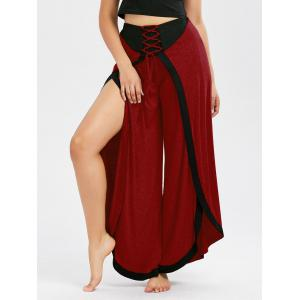 Lace Up High Slit Wide Leg Pants