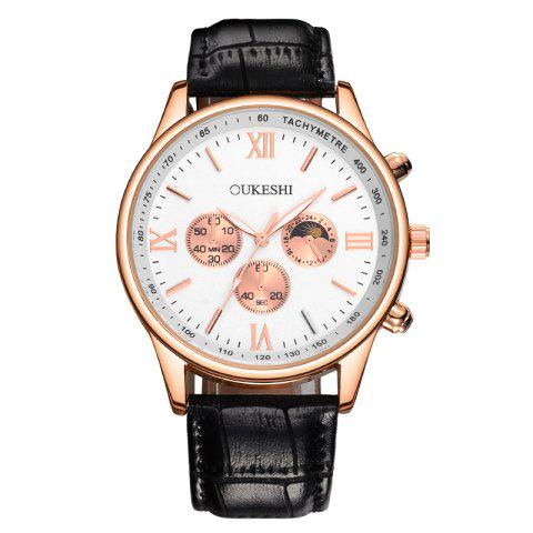 Discount OUKESHI Faux Leather Strap Tachymeter Quartz Watch BLACK WHITE