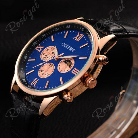 Online OUKESHI Faux Leather Strap Tachymeter Quartz Watch - BLUE AND BLACK  Mobile