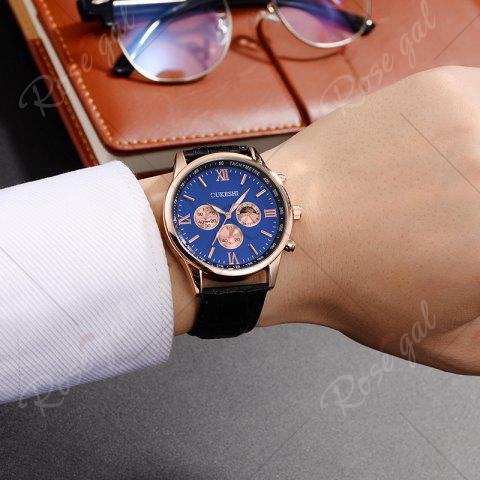 Best OUKESHI Faux Leather Strap Tachymeter Quartz Watch - BLUE AND BLACK  Mobile