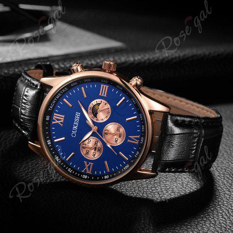 Cheap OUKESHI Faux Leather Strap Tachymeter Quartz Watch - BLUE AND BLACK  Mobile