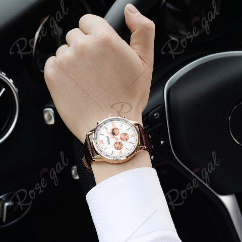 Online OUKESHI Faux Leather Strap Tachymeter Quartz Watch - BROWN  Mobile