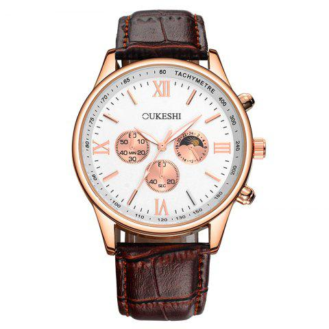 Cheap OUKESHI Faux Leather Strap Tachymeter Quartz Watch BROWN