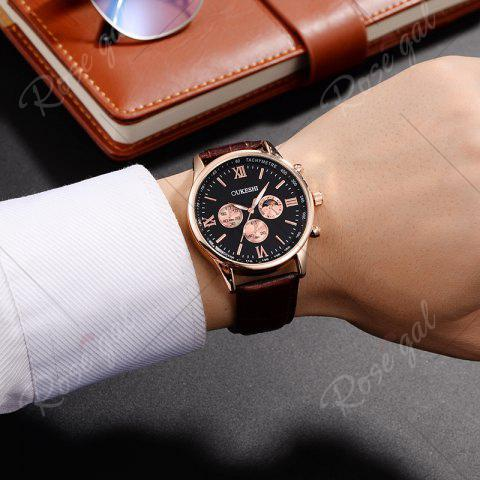 Buy OUKESHI Faux Leather Strap Tachymeter Quartz Watch - BLACK AND BROWN  Mobile