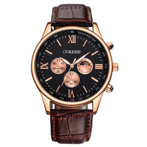 Latest OUKESHI Faux Leather Strap Tachymeter Quartz Watch - BLACK AND BROWN  Mobile