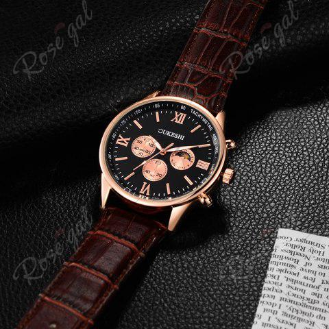 Unique OUKESHI Faux Leather Strap Tachymeter Quartz Watch - BLACK AND BROWN  Mobile