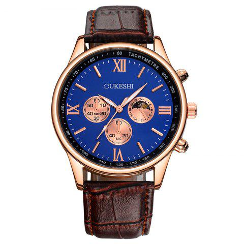 Buy OUKESHI Faux Leather Strap Tachymeter Quartz Watch BLUE / BROWN