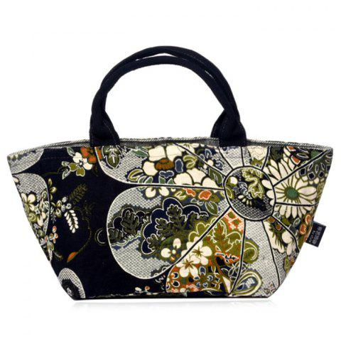 Unique Linen Ethnic Printed Tote Bag BLACK