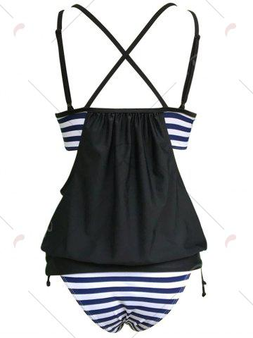 Hot Striped Cross Back Blouson Tankini Set - XL BLACK Mobile