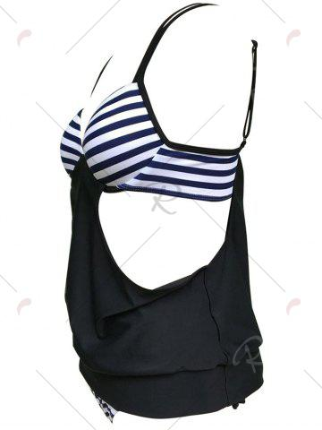 Buy Striped Cross Back Blouson Tankini Set - XL BLACK Mobile