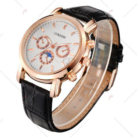 Trendy OUKESHI Number Faux Leather Strap Analog Watch - BLACK  Mobile