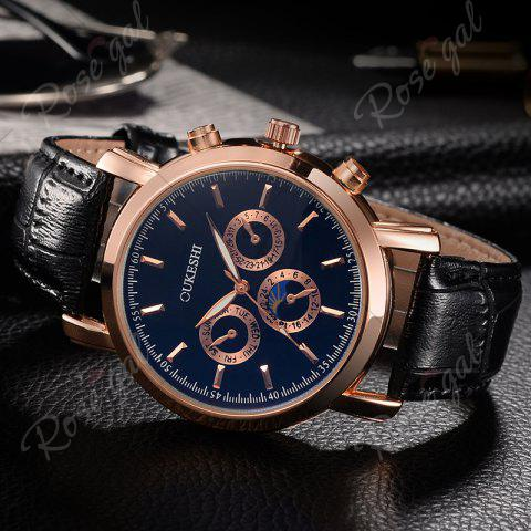 Buy OUKESHI Number Faux Leather Strap Analog Watch - BLUE AND BLACK  Mobile
