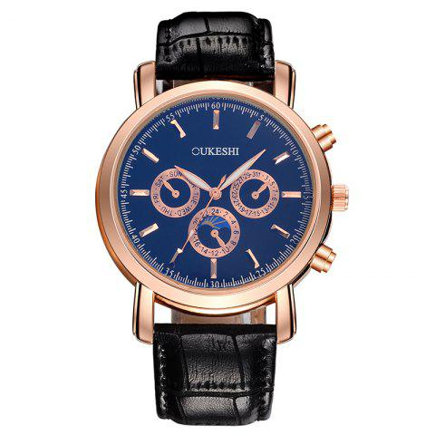 OUKESHI Number Faux Leather Strap Analog Watch Bleu et Noir
