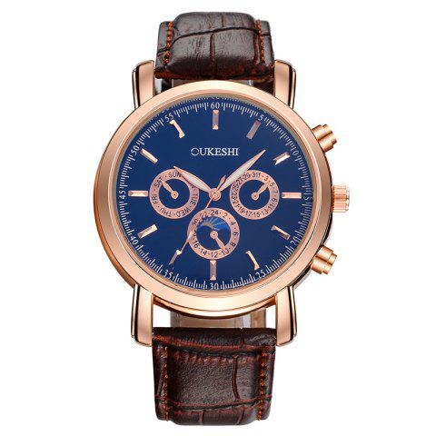 OUKESHI Number Faux Leather Strap Analog Watch - Blue + Brown