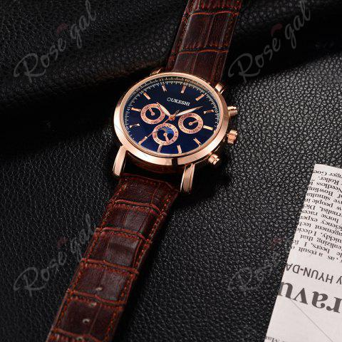 Hot OUKESHI Number Faux Leather Strap Analog Watch - BLUE + BROWN  Mobile