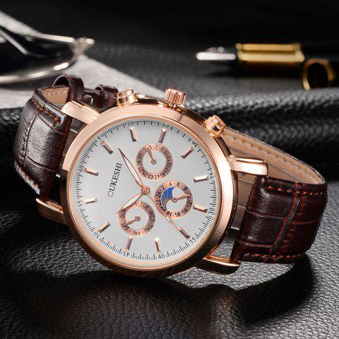 Best OUKESHI Number Faux Leather Strap Analog Watch - BROWN  Mobile