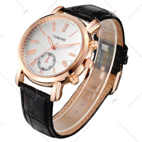 Latest OUKESHI Roman Numeral Faux Leather Strap Formal Watch - BLACK  Mobile