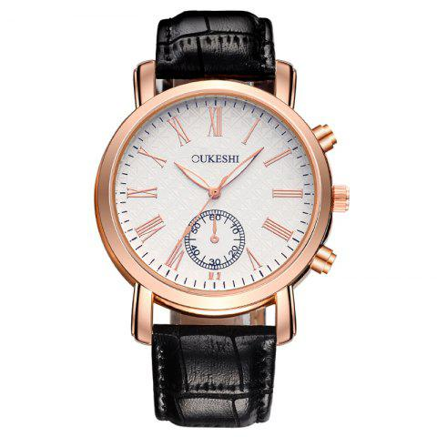 Best OUKESHI Roman Numeral Faux Leather Strap Formal Watch