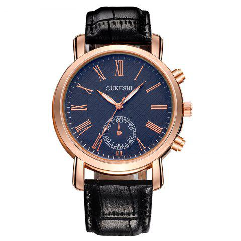 Latest OUKESHI Roman Numeral Faux Leather Strap Formal Watch BLUE/BLACK