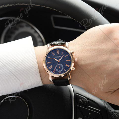 Outfits OUKESHI Roman Numeral Faux Leather Strap Formal Watch - BLUE AND BLACK  Mobile