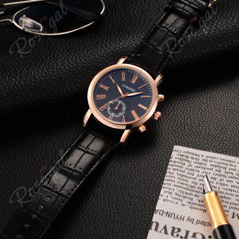 Trendy OUKESHI Roman Numeral Faux Leather Strap Formal Watch - BLUE AND BLACK  Mobile