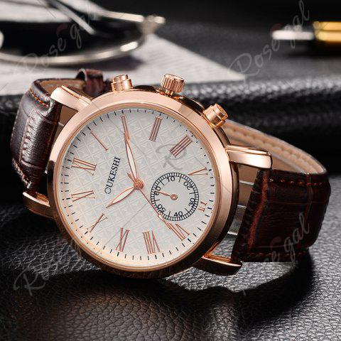 New OUKESHI Roman Numeral Faux Leather Strap Formal Watch - BROWN  Mobile