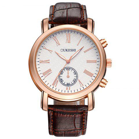 OUKESHI Roman's Numeral Faux Leather Strap Formal Watch Brun