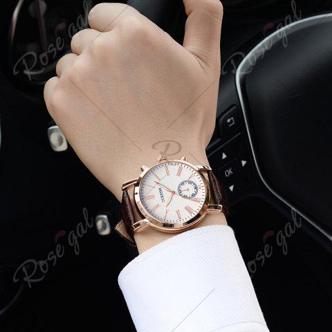 Trendy OUKESHI Roman Numeral Faux Leather Strap Formal Watch - BROWN  Mobile