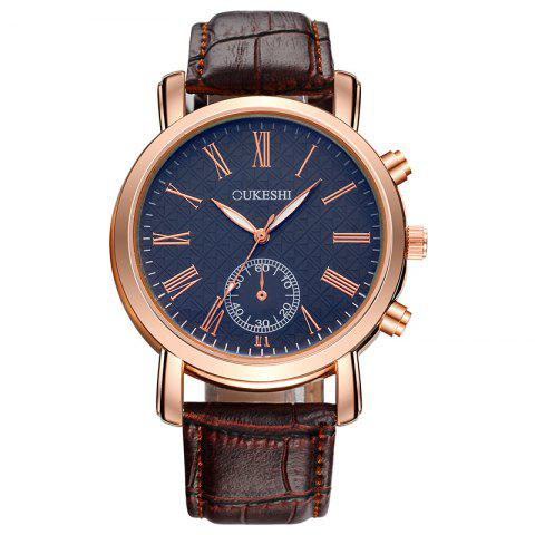 OUKESHI Roman Numeral Faux Leather Strap Formal Watch - Blue + Brown
