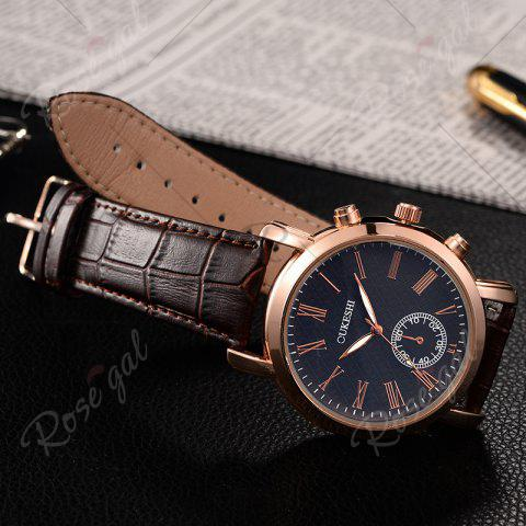 Shop OUKESHI Roman Numeral Faux Leather Strap Formal Watch - BLUE + BROWN  Mobile
