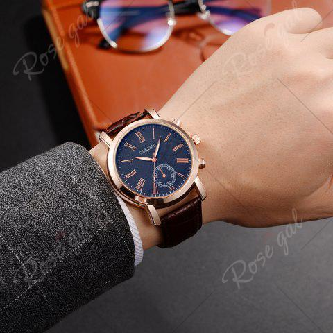 Trendy OUKESHI Roman Numeral Faux Leather Strap Formal Watch - BLUE + BROWN  Mobile