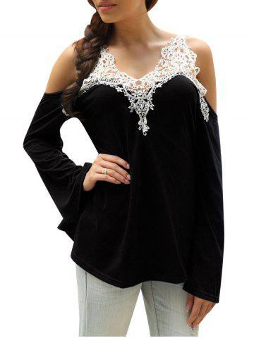 Hot Cold Shoulder Lace Panel Color Block T-Shirt with Long Sleeve BLACK XL