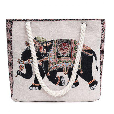 New Print Canvas Beach Bag BLACK