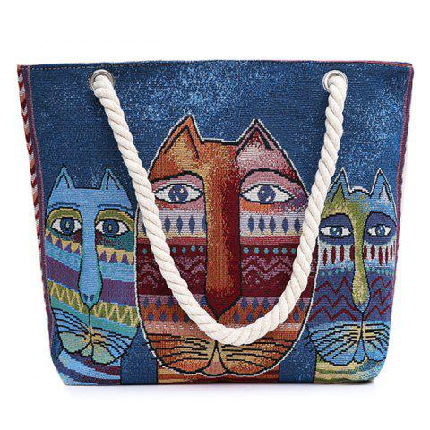 Print Canvas Beach Bag - Blue