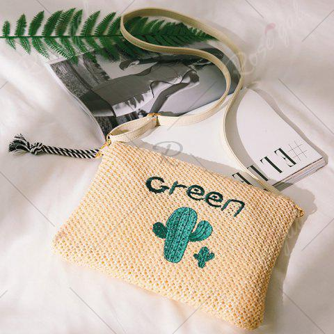 Unique Embellished Straw Woven Crossbody Bag - GREEN  Mobile