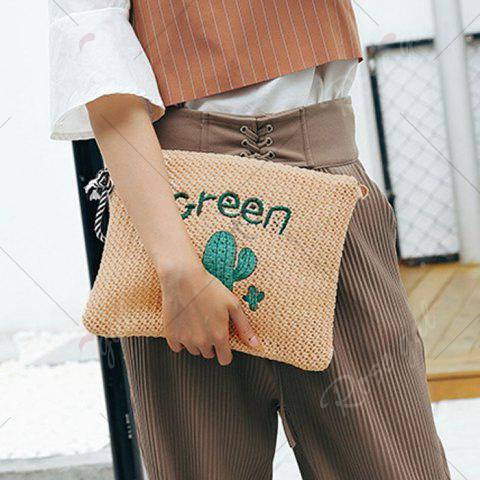 Store Embellished Straw Woven Crossbody Bag - GREEN  Mobile