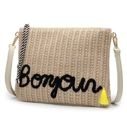 Store Embellished Straw Woven Crossbody Bag - BLACK  Mobile