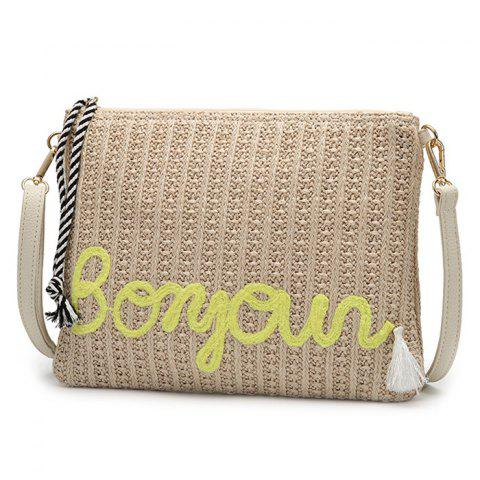 Buy Embellished Straw Woven Crossbody Bag - YELLOW  Mobile