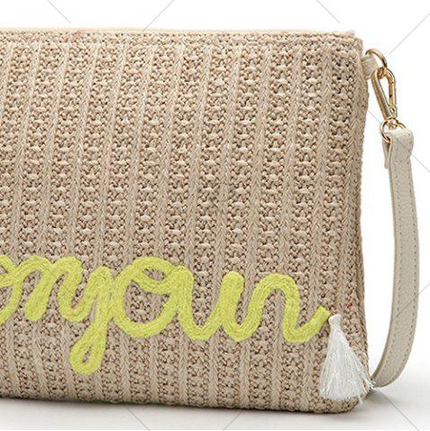 Unique Embellished Straw Woven Crossbody Bag - YELLOW  Mobile