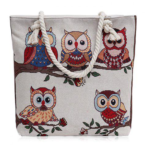 Twist Rope Owl Jacquard Beach Bag Blanc Crème