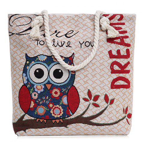 Buy Twist Rope Owl Jacquard Beach Bag