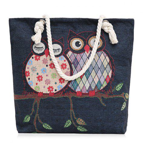 Twist Rope Owl Jacquard Beach Bag - Denim Blue - M